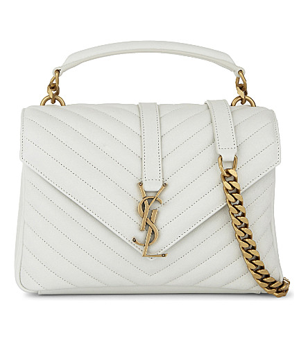 SAINT LAURENT Monogram collège small quilted leather satchel (White