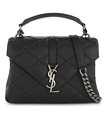SAINT LAURENT College quilted cross-body bag (Black