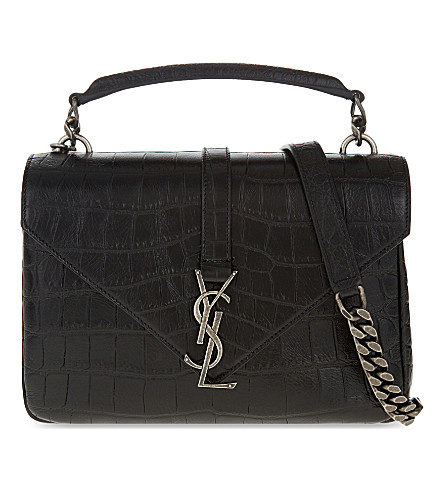 SAINT LAURENT Monogram Collège small leather satchel (Black