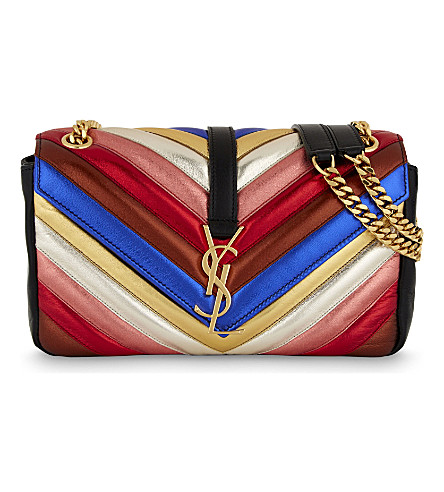 SAINT LAURENT Quilted leather cross-body bag (Multi