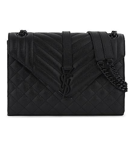 SAINT LAURENT Monogram medium quilted leather satchel (Black+black