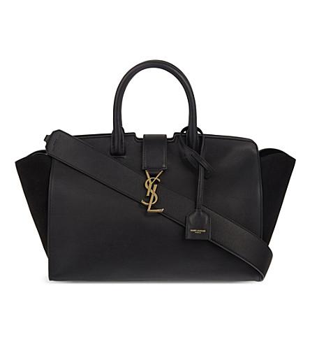 SAINT LAURENT Monogram small suede & leather Cabas tote (Black