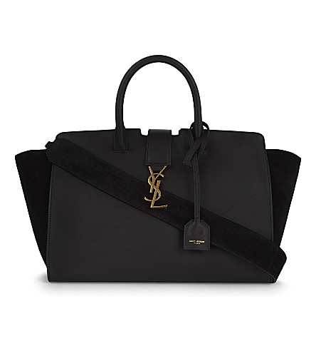 SAINT LAURENT Monogram Cabas small leather tote (Black+gold+hw