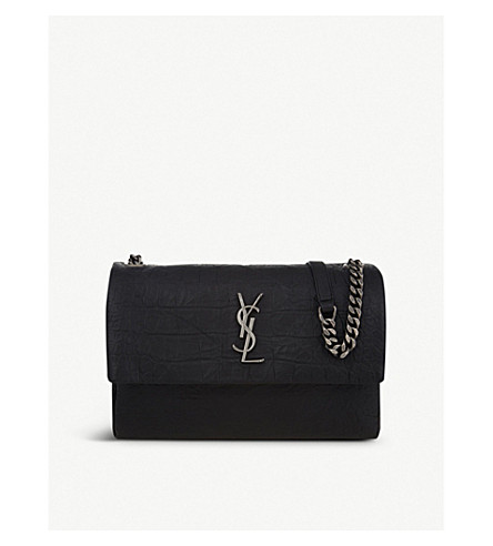 SAINT LAURENT West Hollywood crocodile-embossed leather shoulder bag (Black