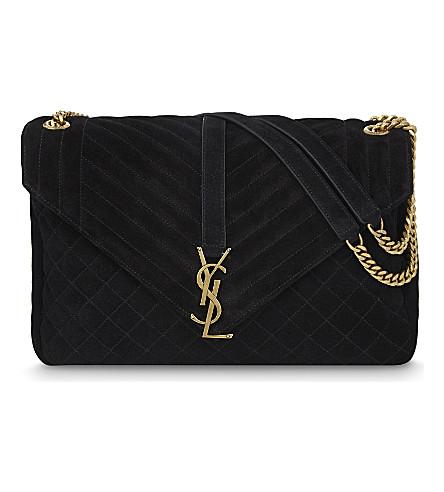 SAINT LAURENT Monogram quilted suede shoulder bag (Black