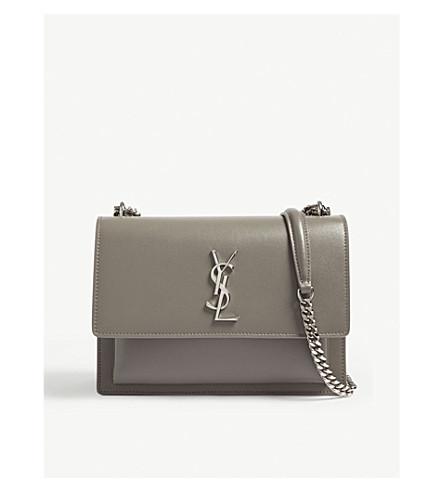 SAINT LAURENT Monogram Sunset medium leather cross-body bag (Fog