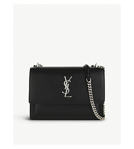 SAINT LAURENT Monogram Sunset medium leather cross-body bag (Black