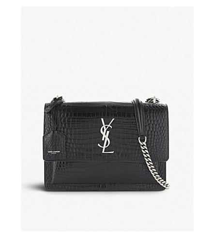 22233df46ae0 SAINT LAURENT Sunset Monogram medium crocodile-embossed leather shoulder bag  (Black