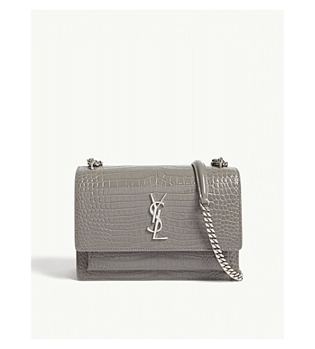 SAINT LAURENT Sunset Monogram medium crocodile-embossed leather shoulder bag (Fog
