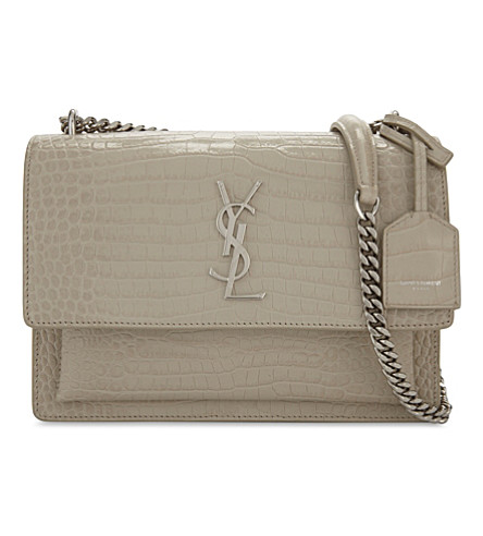 SAINT LAURENT Monogram Sunset medium crocodile-embossed leather shoulder bag (Ivory