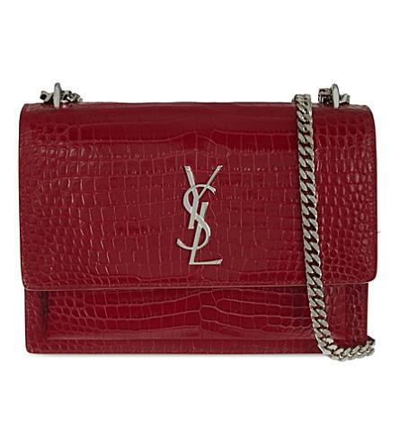 SAINT LAURENT Sunset leather medium satchel (Red