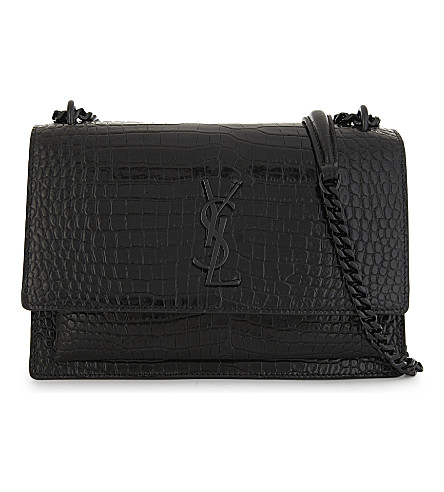 SAINT LAURENT Monogram Sunset medium crocodile-embossed leather shoulder bag (Black+silver