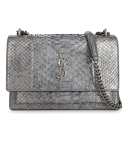 SAINT LAURENT Monogram Sunset medium python-skin cross-body bag (Antracite+metallic