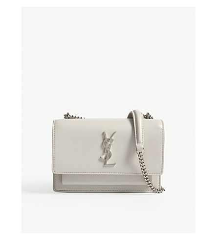 SAINT LAURENT Monogram Sunset leather wallet-on-chain (Icy+white