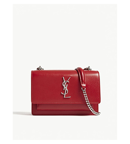 SAINT LAURENT Monogram Sunset leather wallet-on-chain (Rouge