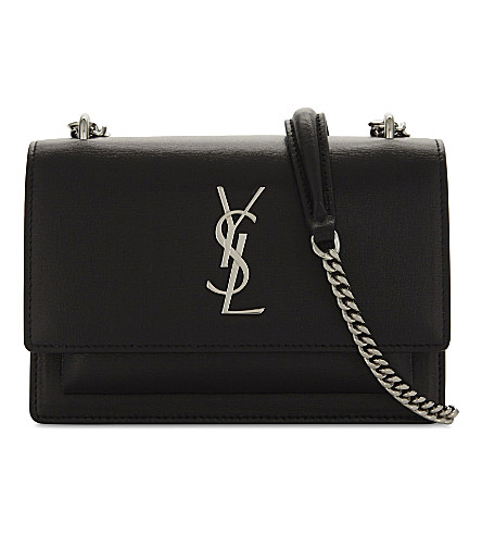 SAINT LAURENT Monogram Sunset leather wallet-on-chain (Black