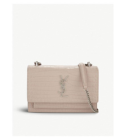 SAINT LAURENT Sunset croc-embossed leather cross-body bag (Marble+pink