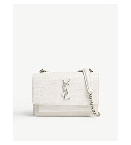 SAINT LAURENT Sunset crocodile-embossed leather wallet-on-chain (Cream
