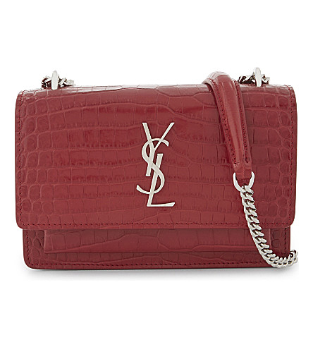 SAINT LAURENT Monogram Sunset leather shoulder bag (Rouge+lipstick