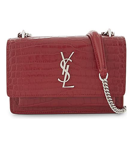 SAINT LAURENT Monogram Sunset leather shoulder bag (Rouge+lipstick