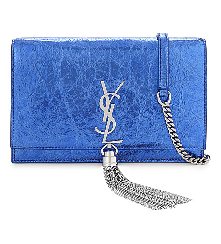SAINT LAURENT Kate tassel cross-body bag (Blue+metallic