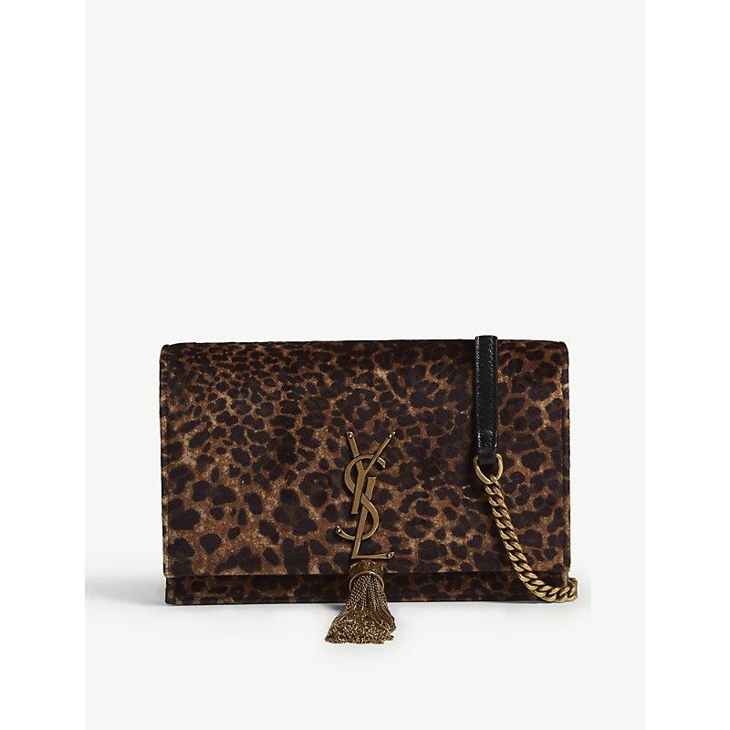SAINT LAURENT Kate leopard spot monogram velvet wallet-on-chain