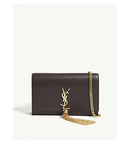 SAINT LAURENT Monogram Kate leather wallet-on-chain (Black+tulip