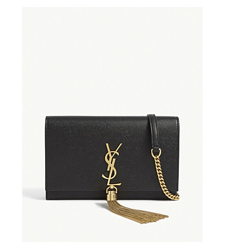 SAINT LAURENT Kate Tassel Monogram leather clutch (Black