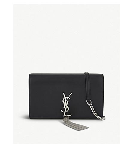 SAINT LAURENT Matte leather tassel cross-body satchel (Black/silver
