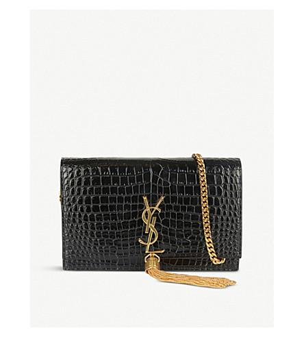SAINT LAURENT Kate monogram crocodile-embossed leather shoulder bag (Black/gold