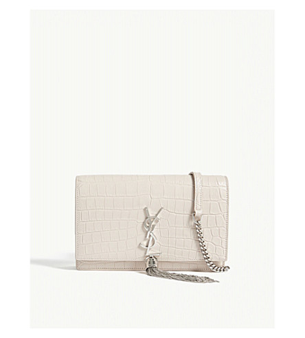 SAINT LAURENT Kate extra-small crocodile-embossed leather wallet-on-chain (Washed+light+pink