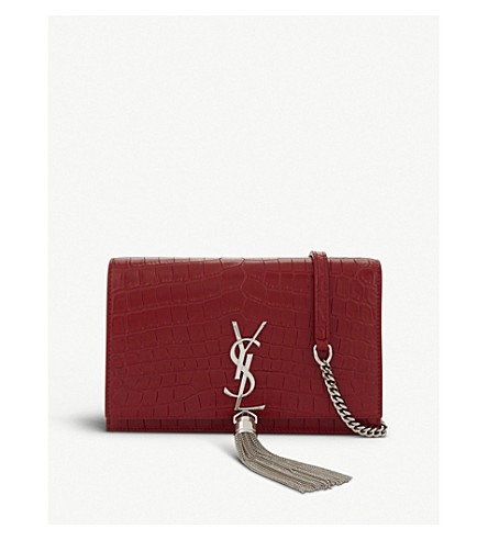 SAINT LAURENT Kate Tassel crocodile-embossed leather cross-body bag (Rouge