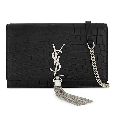 SAINT LAURENT Monogram Kate crocodile-embossed leather wallet-on-chain (Black