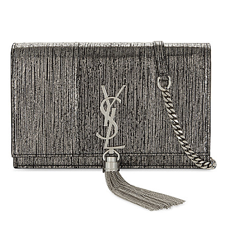 SAINT LAURENT Monogram Kate metallic snake-embossed leather wallet-on-chain (Gunmetal