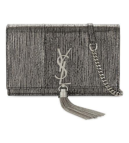SAINT LAURENT Monogram Kate metallic snake-embossed leather wallet-on-chain (Gunmetal
