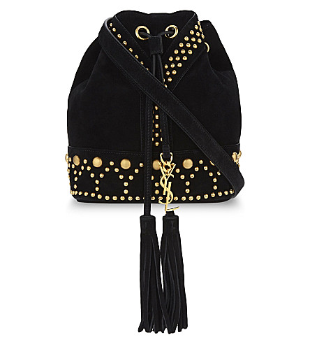 SAINT LAURENT Studded suede bucket bag (Black