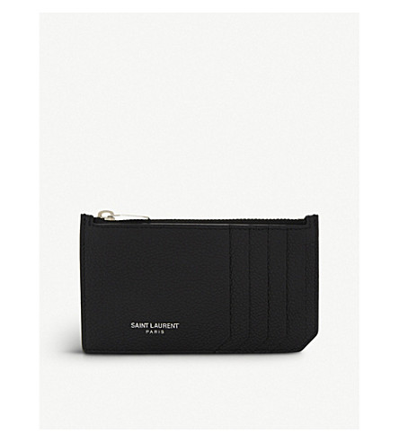 SAINT LAURENT Rive Gauche long leather card holder (Black