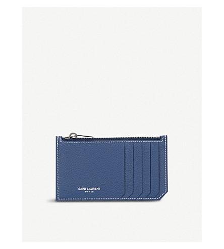 SAINT LAURENT Rive Gauche leather card holder (Denim+blue