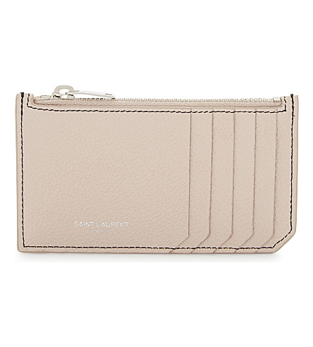 SAINT LAURENT Rive Gauche leather card holder (Marble+pink