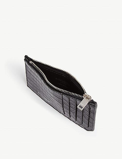 SAINT LAURENT Fragment croc-embossed leather card holder