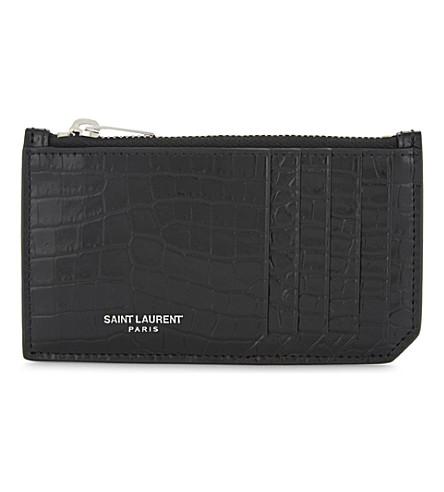 SAINT LAURENT Rive Gauche reptile-embossed leather coin purse (Black
