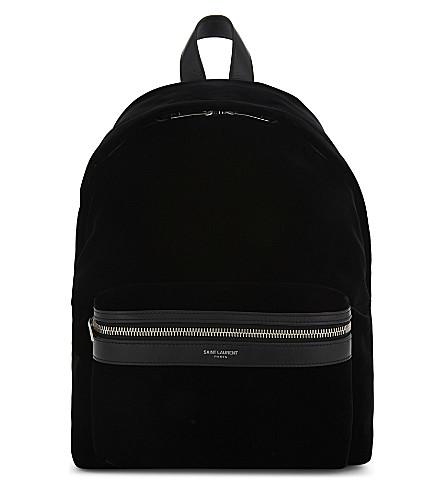 SAINT LAURENT Mini City velvet backpack (Black