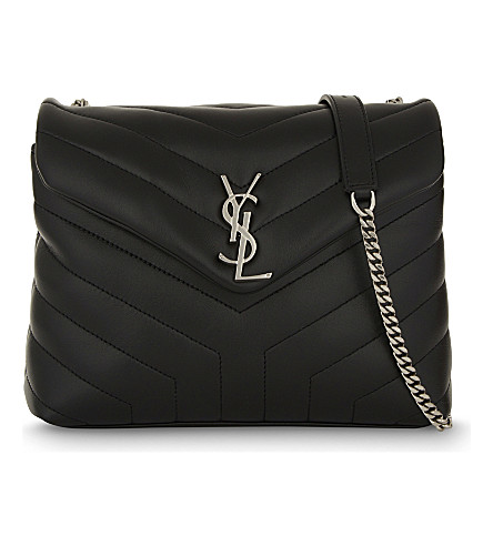 SAINT LAURENT Monogram small quilted leather shoulder bag (Black