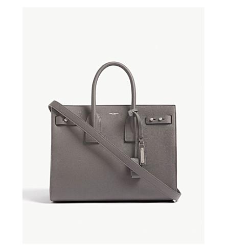 SAINT LAURENT Sac de Jour Slouch small leather tote (Aspalt+grey