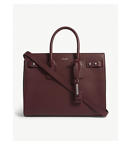 SAINT LAURENT Sac de Jour Slouch small grained leather tote (Burgundy