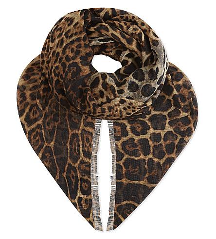SAINT LAURENT Leopard cashmere skinny scarf (Leopard