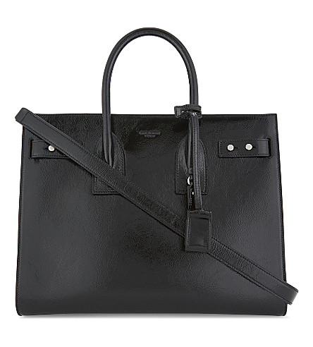 SAINT LAURENT Patent grained leather tote bag (Black