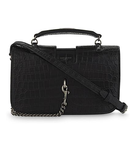 SAINT LAURENT Charlotte medium crocodile-embossed leather shoulder bag (Black