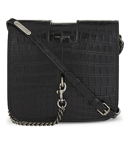 SAINT LAURENT Charlotte large crocodile-embossed leather cross-body bag (Black