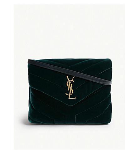SAINT LAURENT Toy Loulou velvet cross-body bag (Green 36b102290e92d
